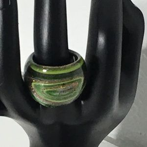 Vintage Glass Dome Green Multicolored Ring